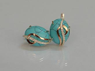 Серебряные серьги Sil с золотыми накладками 150s-5 Бирюзовый Sil-1095 ES, КОД: 976502