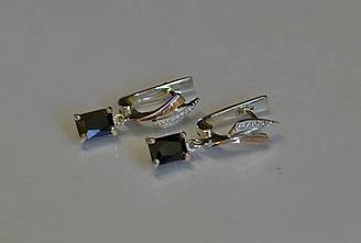 Серьги серебряные Sil с золотыми накладками и фианитами 100s-6 Черный Sil-1006 ES, КОД: 976529