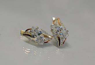 Серебряные серьги Sil с золотыми пластинами 114s-3 Белый Sil-835 ES, КОД: 976536