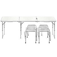Lb складаний Стіл розкладний столик Lanyu L-3-U White з 4 стільцями і отвором для парасольки туристичний для