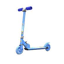 Lb Самокат с полиуретановыми колесами Scooter 999 Синий детский складной с регулировкой руля ручным тормозом