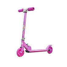 Lb Самокат с полиуретановыми колесами Scooter 999 Розовый детский для девочек складной с ручным тормозом