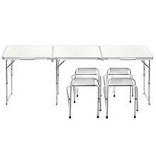 Lb складаний Стіл розкладний столик Lanyu L-3 White з 4 стільцями садовий туристичний для пікніка кемпінгу