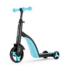 Lb Детский самокат Nadle TF3-1 Голубой велобег велосипед трехколесный для мальчика девочки 3в1 с сиденьем