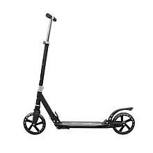 Lb Самокат с полиуретановыми колесами Scooter 888 Black для подростков складной с подножкой амортизатором