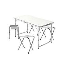 Lb Стіл складаний Lanyu L-2 White з 4 стільцями розкладний столик для пікніка садовий