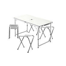 Lb Стіл складаний Lanyu L-2-U White з 4 стільцями і отвором для парасольки 120 см розкладний столик садовий