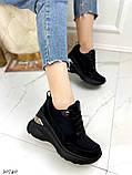 Жіночі кросівки снікерси на танкетці 8 см чорні бежеві, фото 5