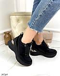 Жіночі кросівки снікерси на танкетці 8 см чорні бежеві, фото 6