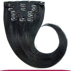 Натуральные Европейские Волосы на Заколках 75 см 180 грамм, Черный №01