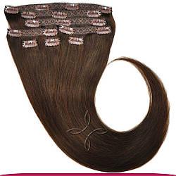 Натуральные Европейские Волосы на Заколках 75 см 180 грамм, Шоколад №02