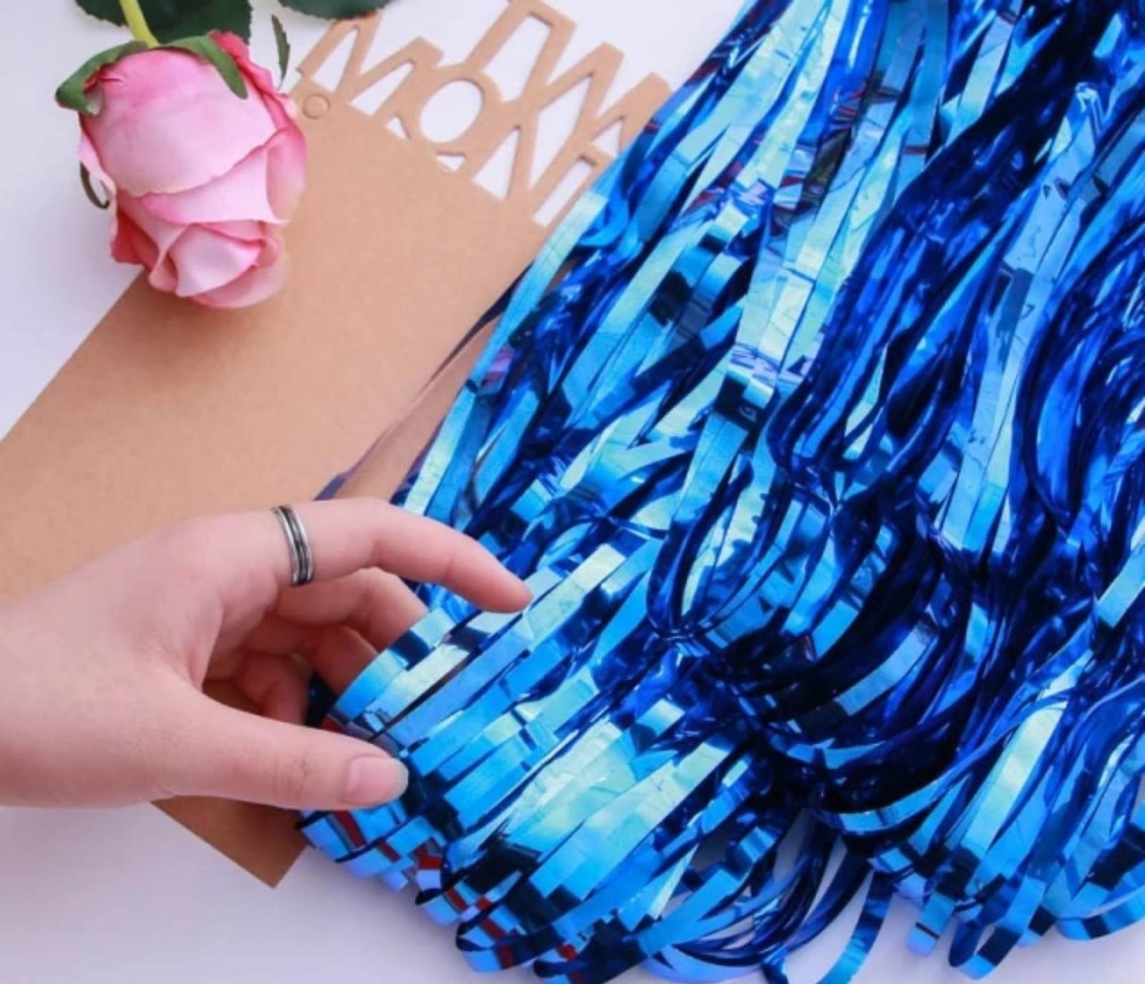 Шторка завісу з фольги для фотозоны темно синя 1х3 метра