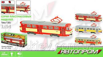 """Трамвай инерц. 9708ABD (24шт) """"АВТОПРОМ"""",1:54,3 цвета, батар.,свет,звук, в кор.31*8*11,4см"""