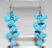Серьги белый металл, бирюзовые розы, имитация коралла 5_5_302a1