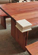 Стол+2 лавочки из массива дуба. Дикий край, фото 2