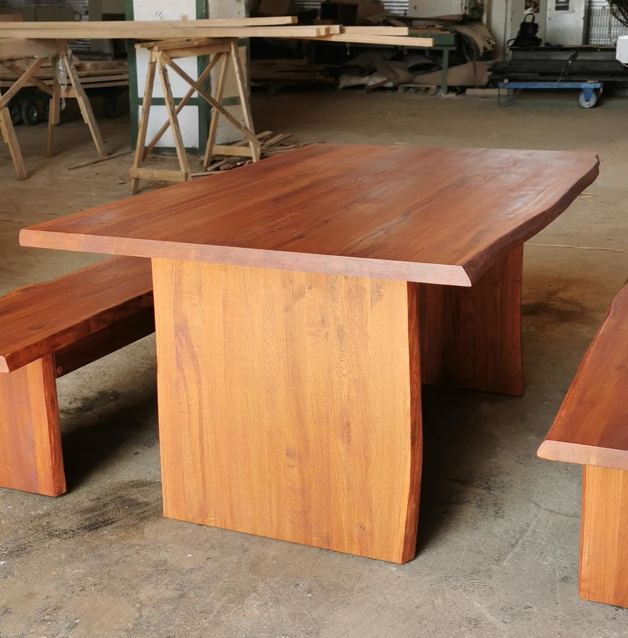 Стол+2 лавочки из массива дуба. Дикий край