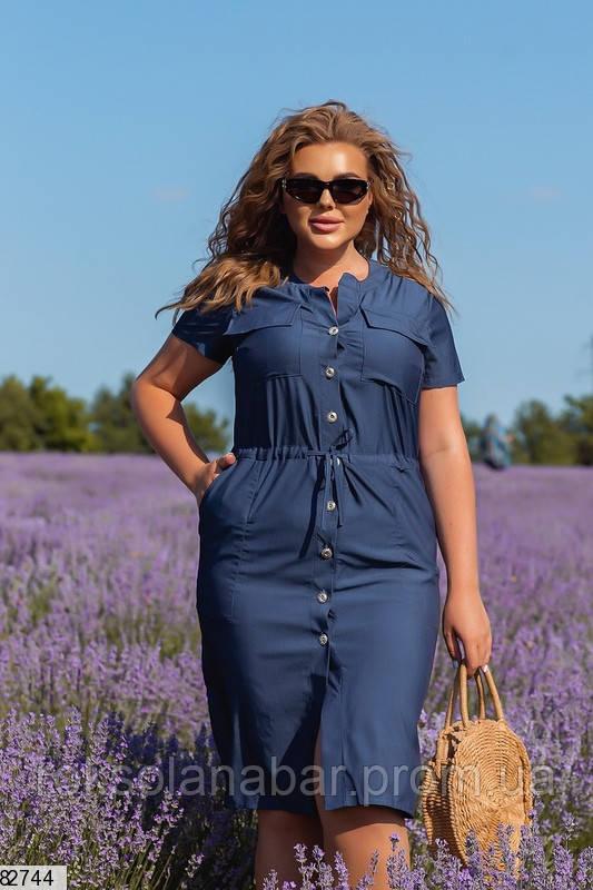 Жіноче плаття XL на ґудзиках в джинсовому кольорі