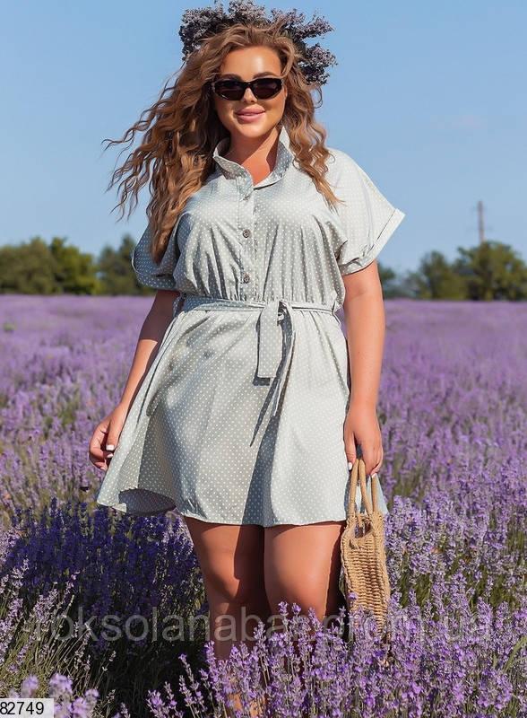 Женское платье мини XL оливковое в мелкий белый горошек