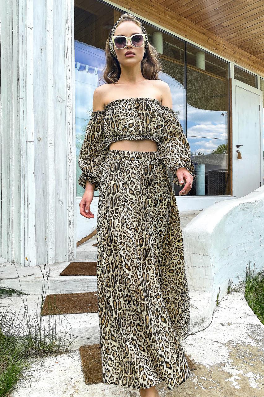 Костюм жіночий топ зі спідницею літній шифон леопардовий принт