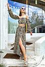 Костюм жіночий топ зі спідницею літній шифон леопардовий принт, фото 3