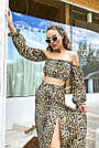 Костюм жіночий топ зі спідницею літній шифон леопардовий принт, фото 4