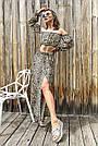 Костюм жіночий топ зі спідницею літній шифон леопардовий принт, фото 5