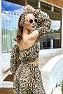 Костюм жіночий топ зі спідницею літній шифон леопардовий принт, фото 6