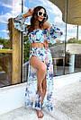Жіночий пляжний костюм шифон бірюзовий з квітами, фото 2