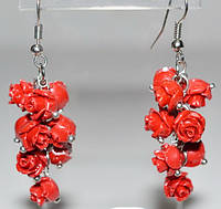 Серьги белый металл, красные розы 5_5_302a2