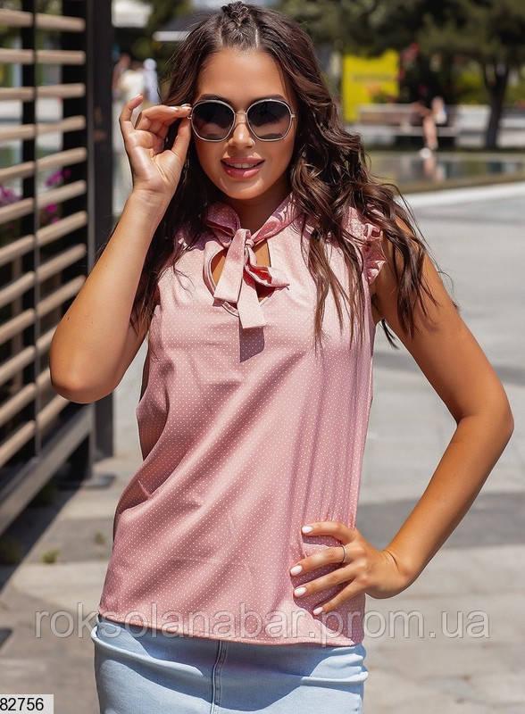 Женская блузка пудрового цвета в белый горошек