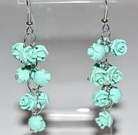 Серьги белый металл, мятные розы, имитация коралла 5_5_302a3