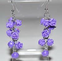 Серьги белый металл, фиолетовые розы, имитация коралла 5_5_302a4