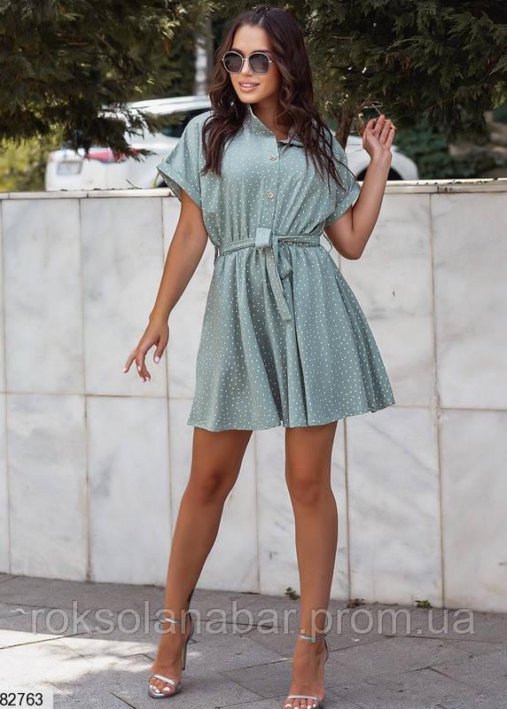 Женское платье мини оливковое в мелкий белый горошек