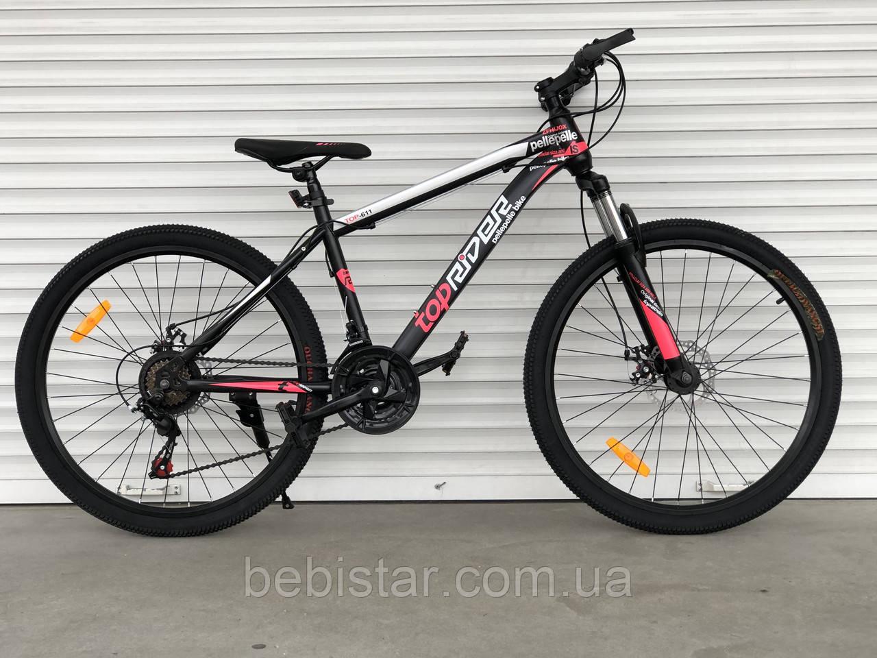 """Спортивный подростковый велосипед черный с красным ТopRider 24"""" крылья подножка детям от 7 лет рост от 130 см"""