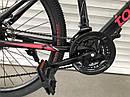 """Спортивный подростковый велосипед черный с красным ТopRider 24"""" крылья подножка детям от 7 лет рост от 130 см, фото 5"""