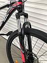 """Спортивный подростковый велосипед черный с красным ТopRider 24"""" крылья подножка детям от 7 лет рост от 130 см, фото 4"""