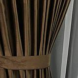 Якісні оксамитові штори на трубній стрічці Штори Блекаут Штори з оксамиту 200х270 см Колір Шоколадний, фото 4