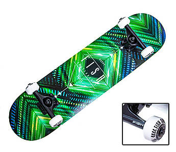 """Дерев'яний СкейтБорд від Fish Skateboard """"Green Rhombus"""""""