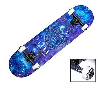 "СкейтБорд деревянный от Fish Skateboard ""Heart Blue"""