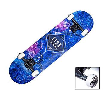 "СкейтБорд деревянный от Fish Skateboard ""Blue Rhombus"""