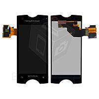 Дисплейный модуль (дисплей + сенсор) для Sony Ericsson ST18i, черный, оригинал