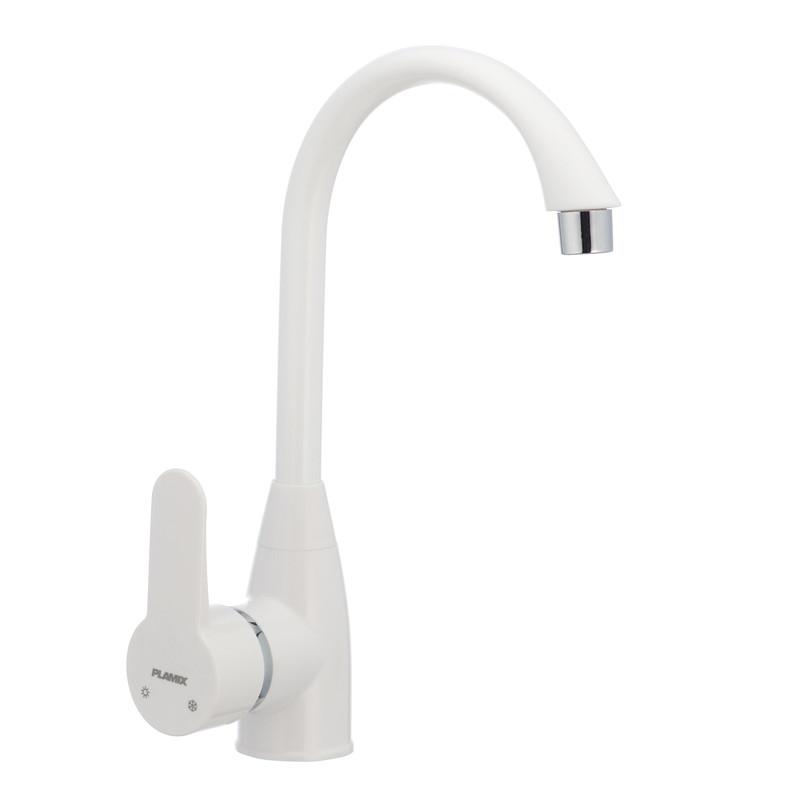 Смеситель пластиковый для кухни PLAMIX Mario-011 белый (без подводки) (PM0015)