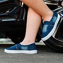 Мокасины слипоны женские летние синие джинсовые кеды мокасини сліпони жіночі літні сині джинсові кеди, фото 2