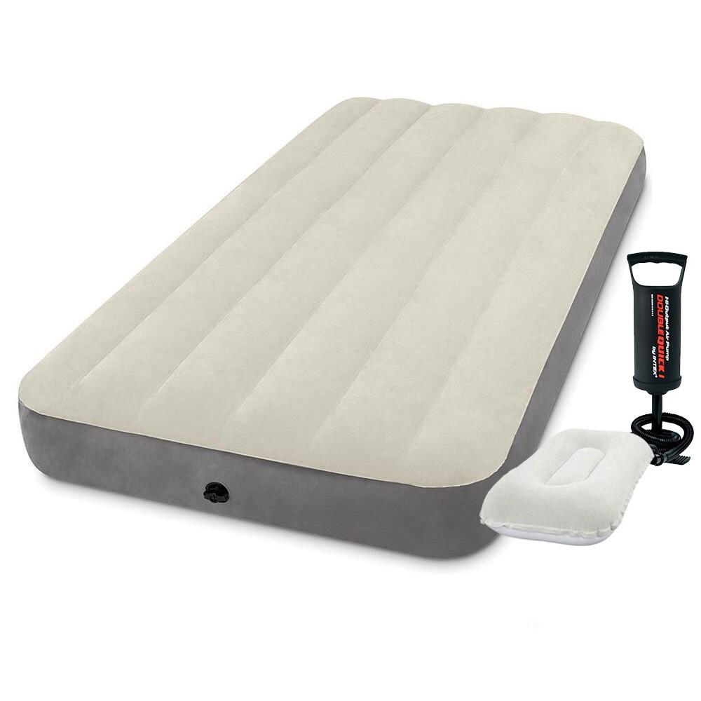 Надувний матрац Intex 64101-2, 99 х 191 х 25 см, з насосом, подушкою. Одномісний