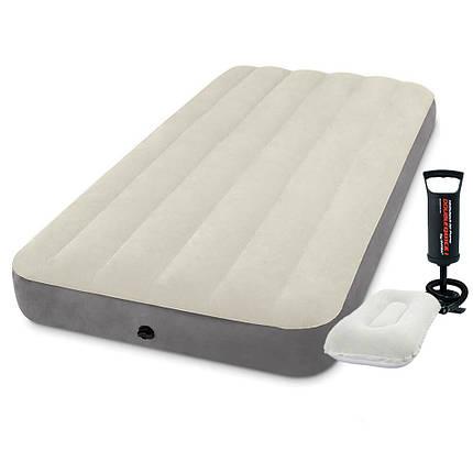 Надувний матрац Intex 64101-2, 99 х 191 х 25 см, з насосом, подушкою. Одномісний, фото 2