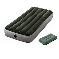 Надувний матрац Intex 64760-1, 76 х 191 х 22 см з ножним (вбудований) насосом і подушкою. Одномісний