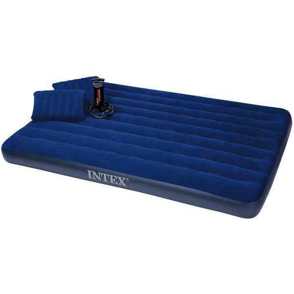 Надувной матрас двухместный Intex 68765 с подушками и ручным насосом 152 х 203 х 22 см Синий (68765_int)