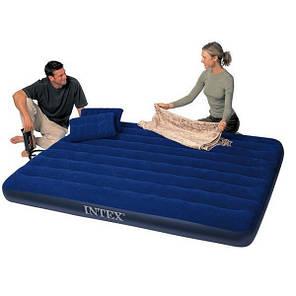 Надувной матрас двухместный Intex 68765 с подушками и ручным насосом 152 х 203 х 22 см Синий (68765_int), фото 2