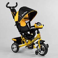 Детский трехколесный велосипед Best Trike  с родительской ручкой фара звуки желтый