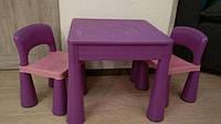 Детский стол, столик лего доска lego, два стула в комплекте Tega ФИОЛЕТОВЫЙ